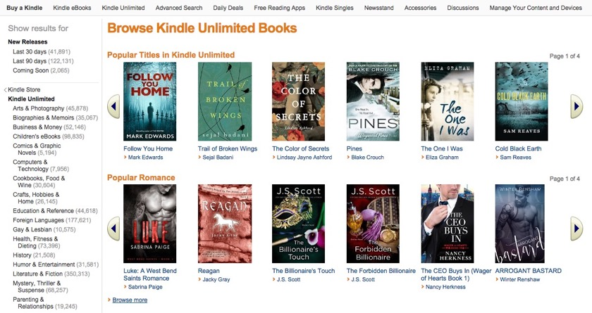 kindle unlimited トップページ